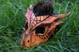 Masque cuir lézard dragon orange