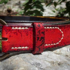 Ceinture cuir 30mm rouge boucle ronde