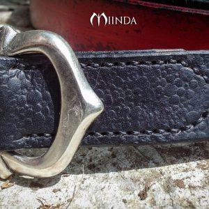 Ceinture cuir 30 mm noir Boucle double argentée
