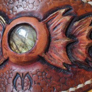 Bracelet cuir cannelle écailleux