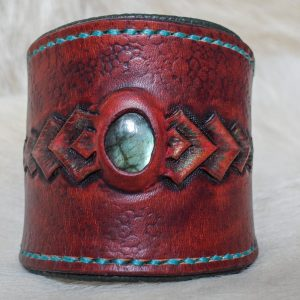 Bracelet cuir écailleux acajou labradorite