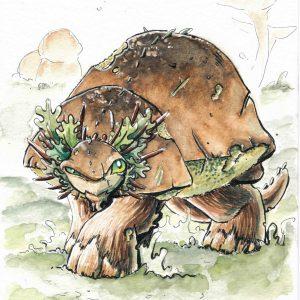Aquarelle illustration originale Dragon champignon